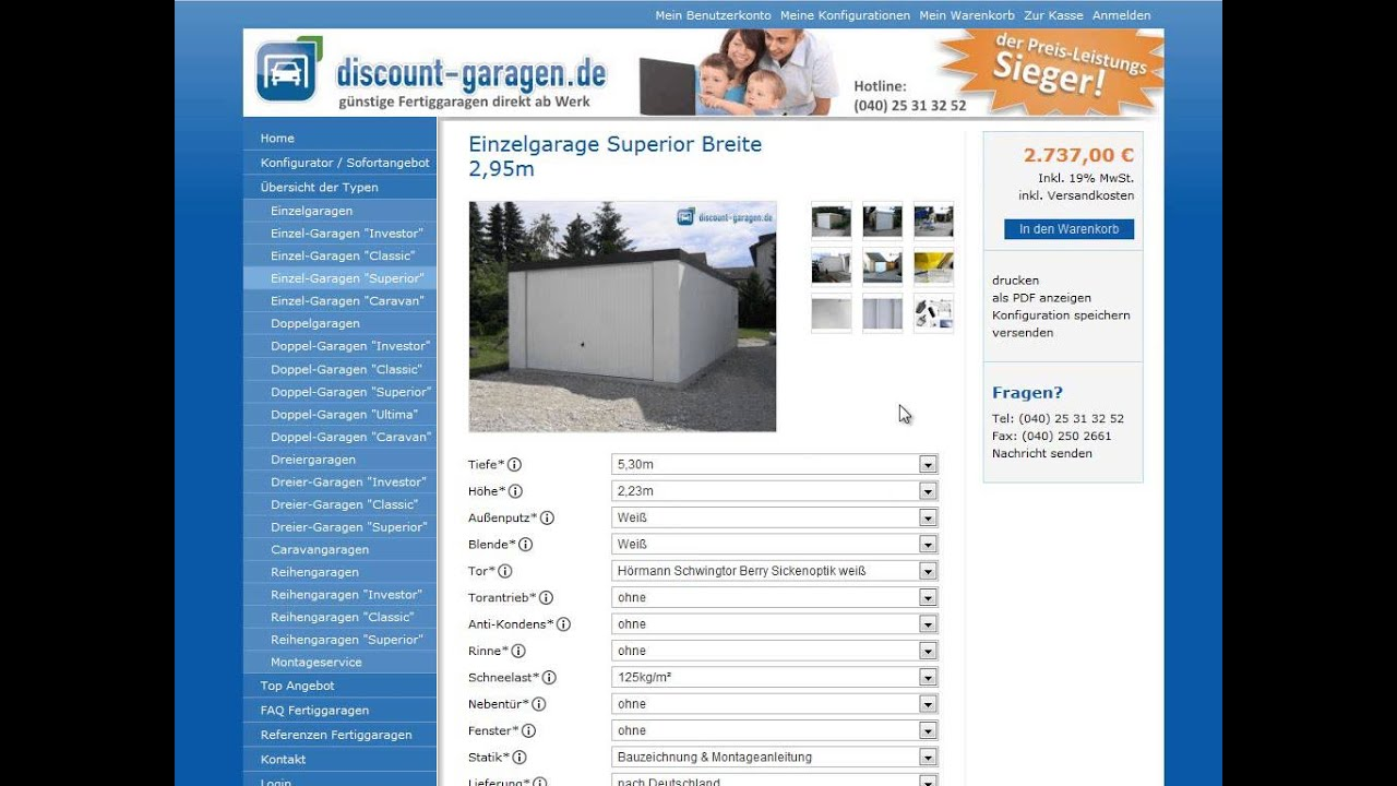 fertiggaragen konfigurator mit preis angebot in 3 minuten youtube. Black Bedroom Furniture Sets. Home Design Ideas