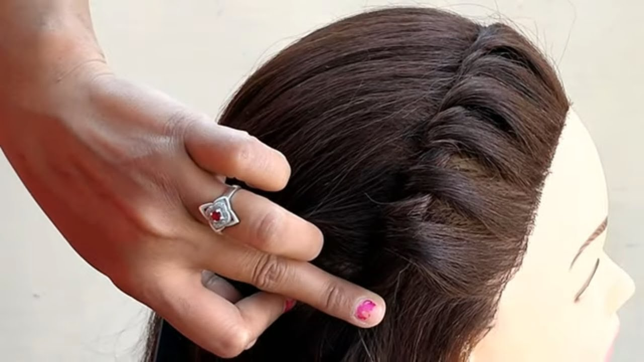 party wear hairstyle for medium hair || easy part hairstyle for girls
