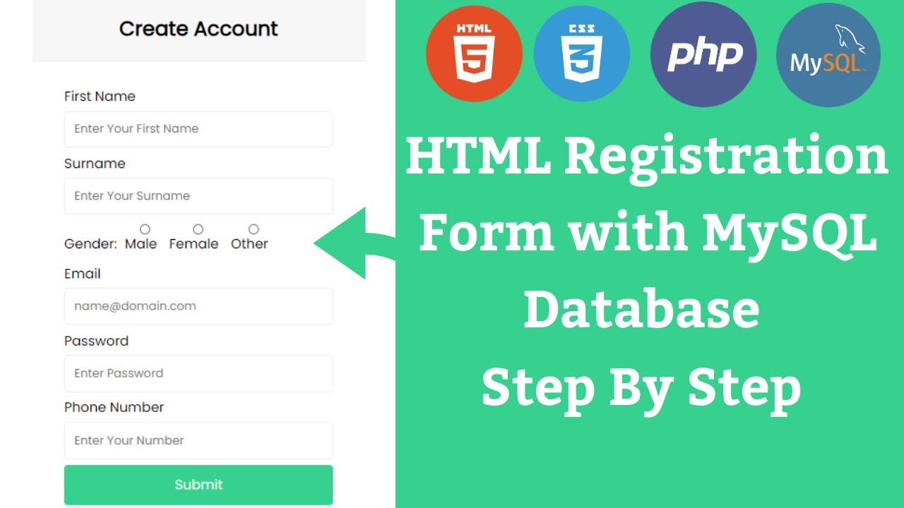 How to Connect HTML Form with MySQL Database using PHP - Server Side Form Validation