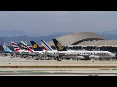 Boeing 747 & Airbus A380 Heavies at LAX - 1 Hr Plane spotting - June-July 2015