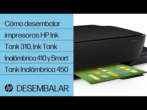 Cómo desembalar impresoras HP Ink Tank 310, Ink Tank Inalámbrica 410 y Smart Tank Inalámbrica 450