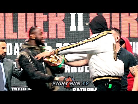 TYSON FURY & DEONTAY WILDER ALMOST FIGHT AT FINAL PRESSER! BOTH PUSH EACH OTHER AT FACE OFF!