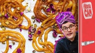 Jalebi Recipe - Sticky Indian Doughnuts!! | FridgeCam