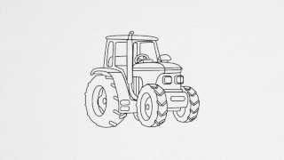 How to draw a TRACTOR step by step