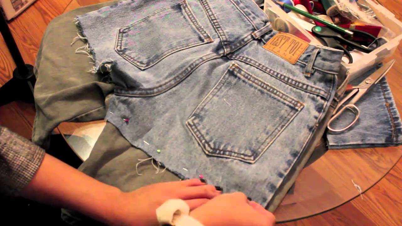 DIY: cut off denim shorts with lace - YouTube