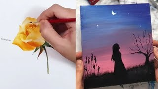 Most Amazing Art videos. Painting tutorial - Simple drawings| Урок рисования - Простые рисунки