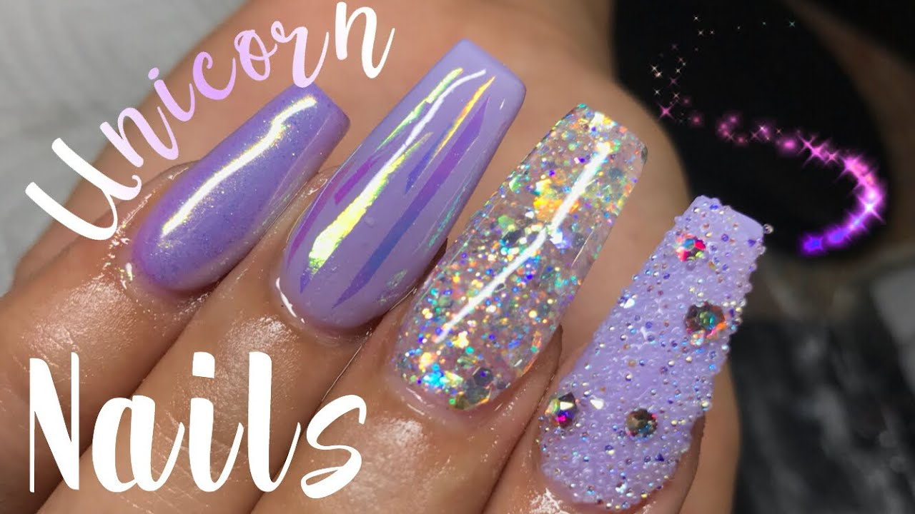 Unicorn Pastel Purple Coffin Nails