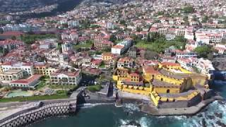 Funchal, Madeira island, Portugal, drone aerial views in 4K, flower festival in the city centre