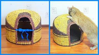 Торжественное заселение кота в дом из газет! + советы по плетению котодома!
