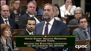 mulcair on trump in canadian parliament