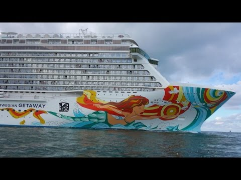 Jet Skiing next to Norwegian Getaway cruise ship