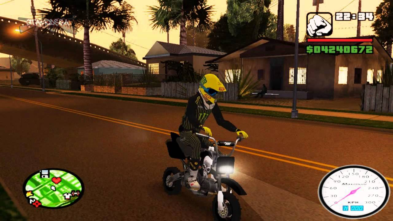 Gta San Andreas Pitbike Skin Black Mods Hd Youtube