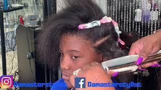 Detailed silk press on damaged hair | Silk press on natural hair