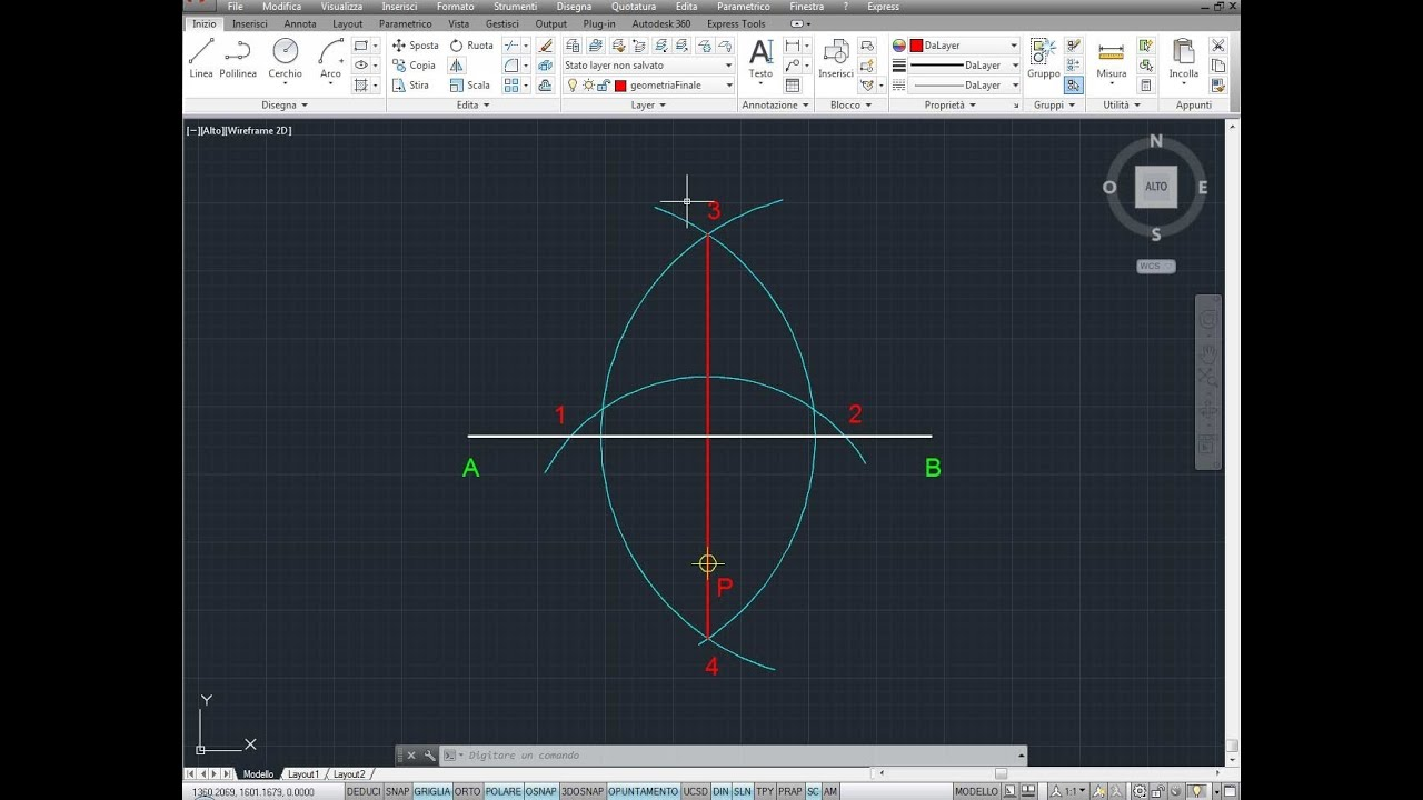 Perpendicolare ad una retta passante per un punto p per for Punto p esterno alla circonferenza