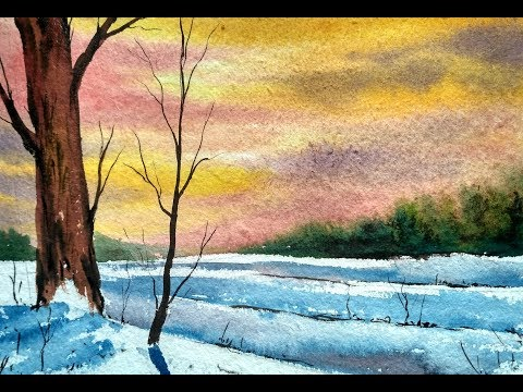 Simple Water Color landscape Painting