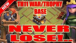 Clash Of Clans - TH11 WAR/TROPHY BASE 300 WALLS + BOMB TOWERS UPDATE BASE