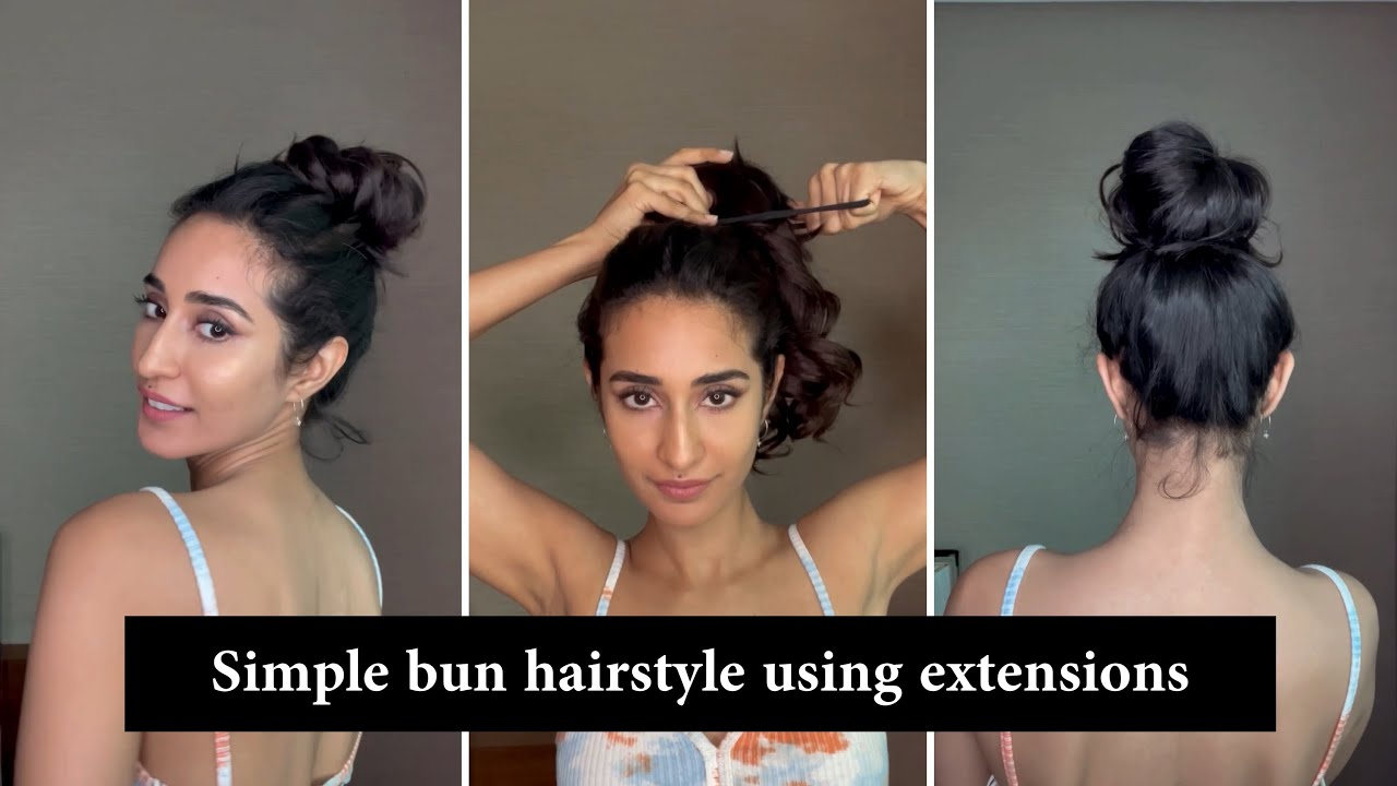 Simple Hairstyles With Hair Extensions | Messy Bun Hairstyle | Hair Extensions India #Shorts