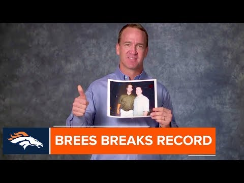 Peyton Manning congratulates Drew Brees on breaking his all-time passing yardage record