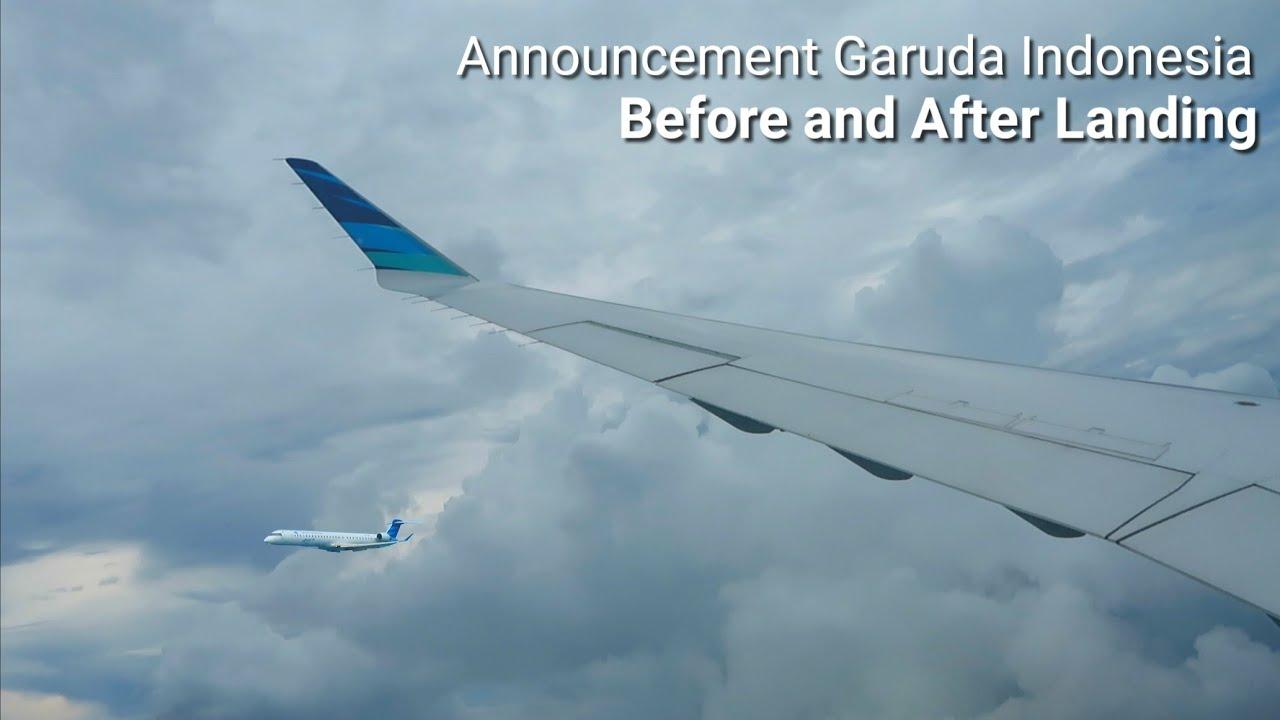 Announcement Before and After Landing Garuda Indonesia Bombardier CRJ1000 Ternate - Manado