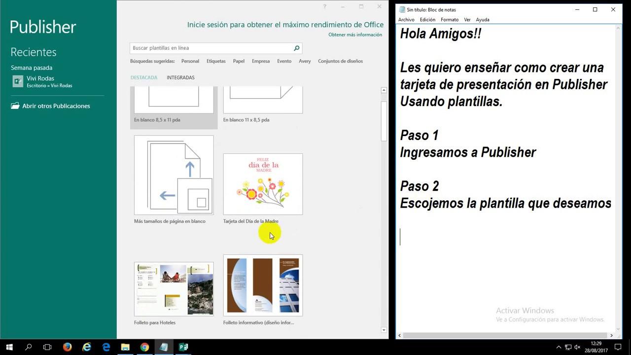 Tarjeta de Presentación con plantillas en Publisher - YouTube