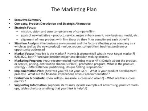 Exceptional The Marketing Plan   Outline