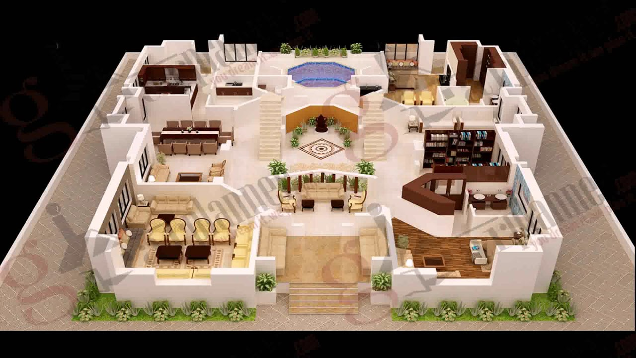 4 Bedroom House Plans 3d  YouTube