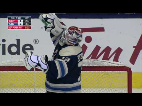 Bobrovsky strikes a pose after scooping up tipped shot