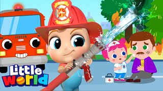 baby John & The Firetruck to the Rescue | Policeman and Ambulance | Little Angel Kids Songs