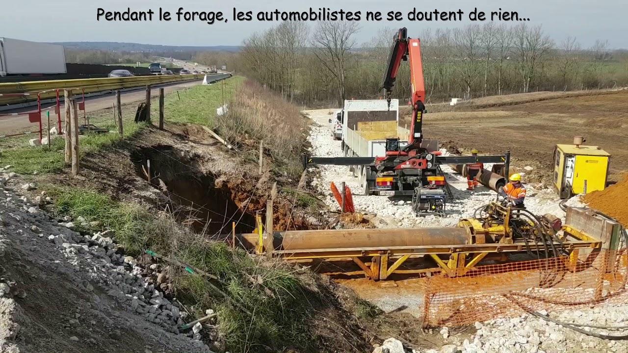 Forage horizontal Ø 600 à Auxerre sous A6 pour EP