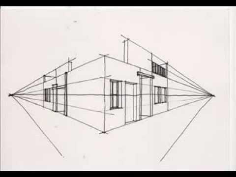 Dibujo espacio exterior con dos puntos fuga youtube for Exterior un punto de fuga