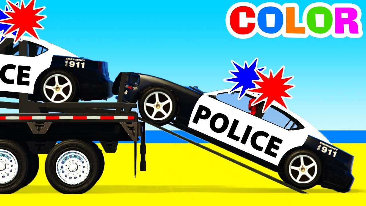 Color Police Cars Transportation & Learn Numbers with ...