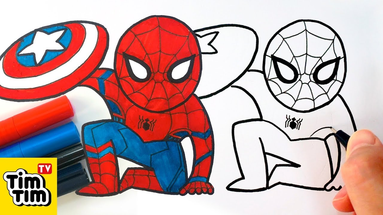 How to draw cute spider man civil war easy step by step for kids art colors