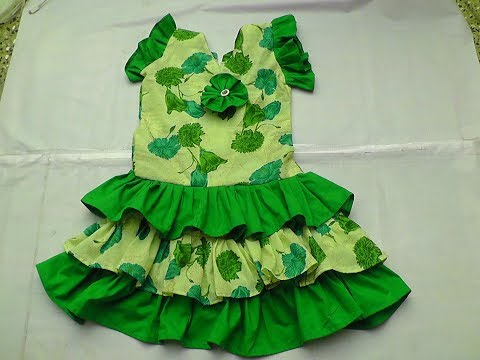 kids summer cotton ruffel  frock cutting and stitching  PART-2