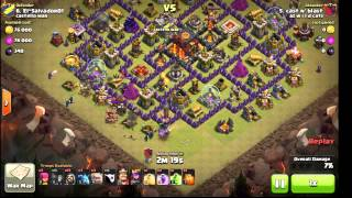 Penta Golem TH9 vs TH10. Clash of Clans Clan War