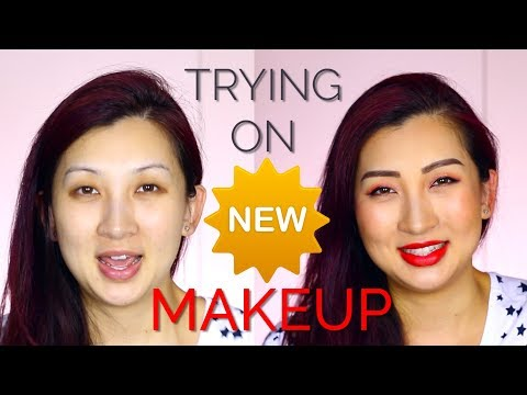 Trying on NEW Makeup & Skincare -  Korean Beauty