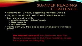 Tyler Library Summer Reading Club - Elementary