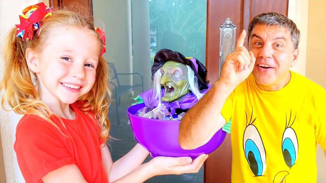 Nastya e as piadas de Halloween com o papai, história engraçada de Halloween