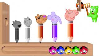 Learn Color With Peppa Pig Baby to Learn Colors Wooden Face Hammer Xylophone l Colors l   #part 104