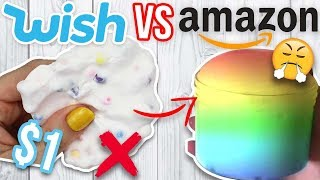 $1 WISH SLIME VS $1 AMAZON SLIME! Which is Worth it?!?