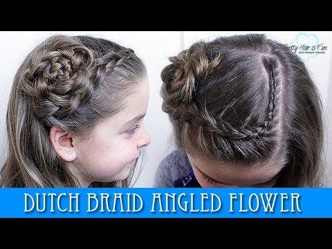 DUTCH BRAID ANGLED FLOWER HAIRSTYLE!