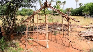 Primitive Technology Build Coconut Leaf House | Primitive Life Old House | Wild Food