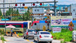 RailWay. Korean Railroad Crossing. Mugunghwa train/Железнодорожный переезд. Корейский поезд Мугунхва