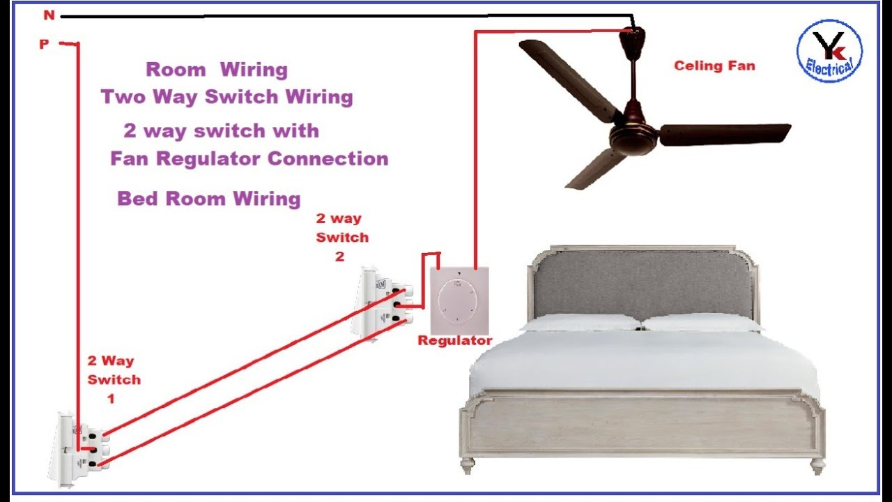Ceiling Fan Wiring Diagram Two Switches 1990 Jeep Wrangler Dash Way Switch Connection With Regulator In Hindi Yk Electrical