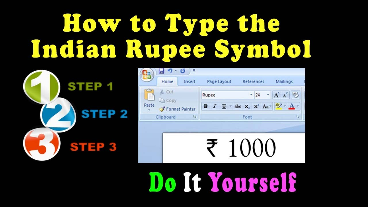 How To Type The Indian Rupee Symbol In Microsoft Word Other