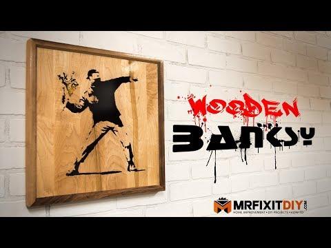 Wood & Epoxy Banksy Wall Art