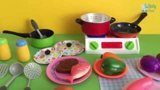 Velcro Toy Vegetables | Soup Cooking Kitchen Stove Pots Pans Frying Pan Learn Cooking Colors Shapes