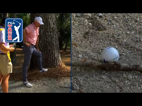 Stewart Cink salvages par from a stick at RBC Heritage