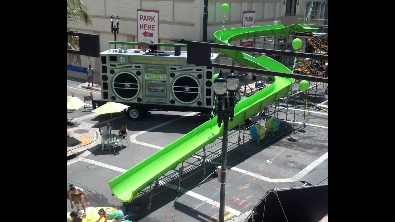 Bud light lime water slide commercial youtube mozeypictures Choice Image
