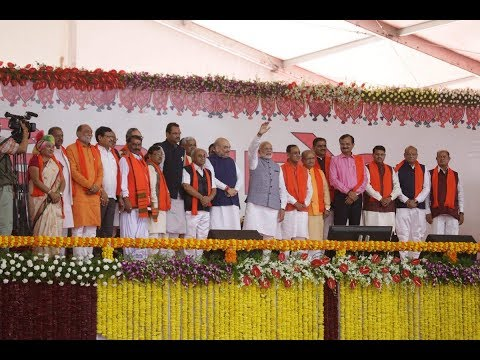 PM Modi attends swearing-in ceremony of Gujarat CM Vijay Rupani in Gandhinagar, Gujarat