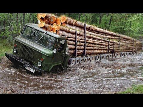 Extreme Dangerous Biggest Logging Wood Truck Driving Skills Heavy Equipment Loading Climbing Working